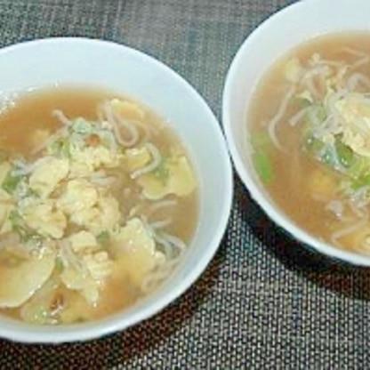 ヘルシ~ 白滝と卵で中華スープ♪