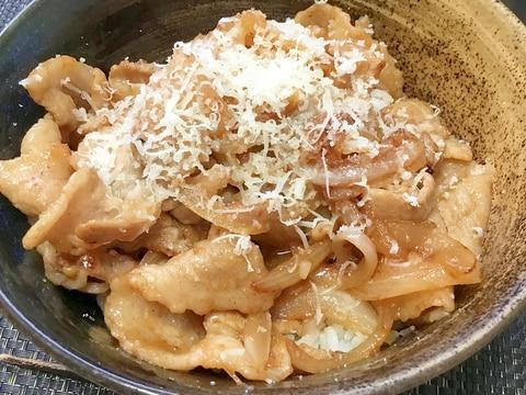 ガッツリ飯☆チーズ味噌生姜焼き丼