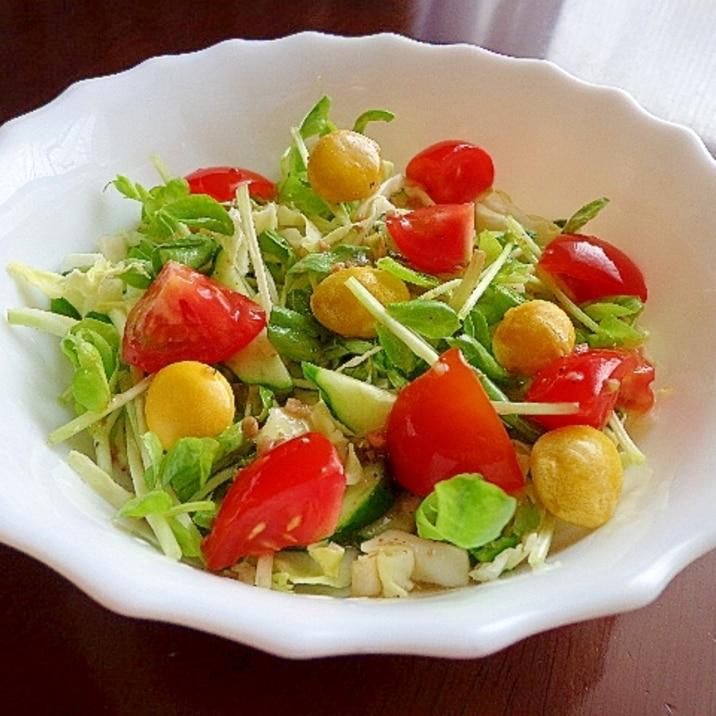 しゃきしゃき豆苗とほっこり銀杏のサラダ♪