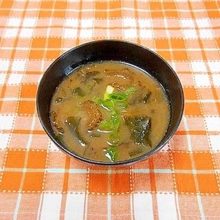 板わかめとゴーヤの佃煮のお味噌汁