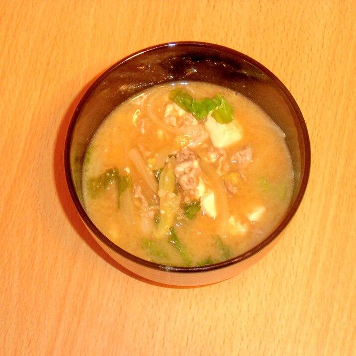 もやしとくずし豆腐のマヨ味噌汁