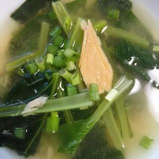 ツナと小松菜のしょうがスープ(^^)