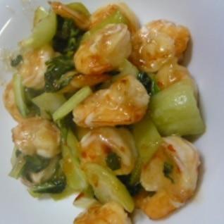海老と青梗菜のスイートチリソース炒め