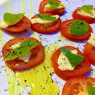 あと一品☆トマト+チーズ+バジルで簡単おつまみ