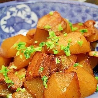 大根と豚バラの炒り煮