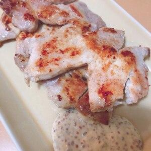 豚ロースのグリルステーキ・マスタードソース添え♪