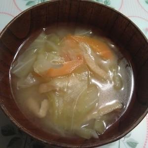 食感を残して~キャベツと人参の味噌汁☆