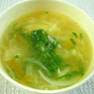 玉ねぎとキャベツと南瓜の鶏がら塩糀スープ♪