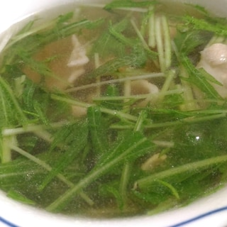 水菜と豚肉の和風スープ