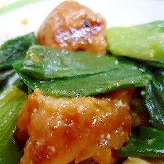 葱の葉と焼き鳥の炒め物