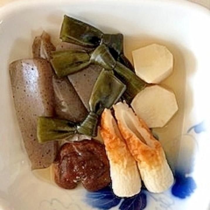 椎茸、こんにゃく、結びおでん昆布、菊芋の煮物