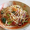 小松菜とコンビーフのパスタ
