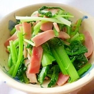 小松菜と水菜のベーコンソテー