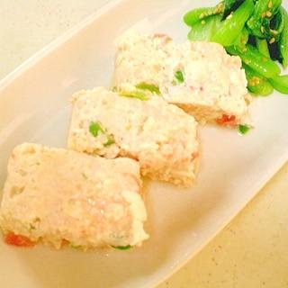 鶏挽肉と豆腐と夏野菜の蒸しもの