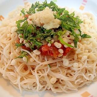❤キムチと揚げ玉と大葉の柚子ポン酢ぶっかけ素麺❤