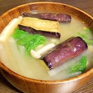 揚げ茄子入り★簡単5品目のお味噌汁