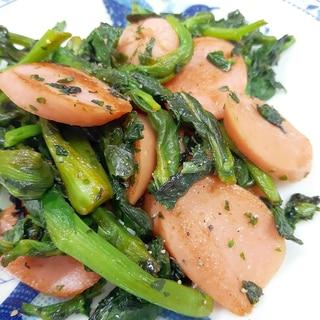 お弁当に!冷凍菜の花と魚肉ソーセージのソース炒め♪