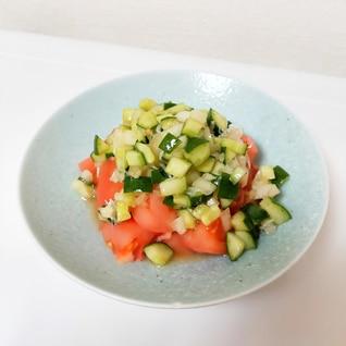 トマトと刻みきゅうりと玉ねぎのサラダ