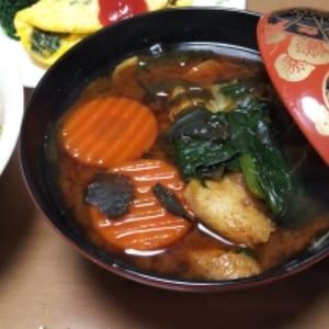 人参&ほうれん草の味噌汁