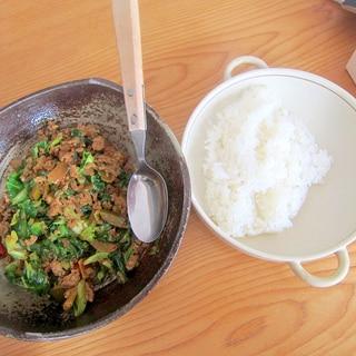 収穫キャベツと豚挽き肉カレー