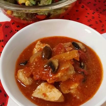 鶏肉とブラウンマッシュルームのトマト煮☆圧力鍋