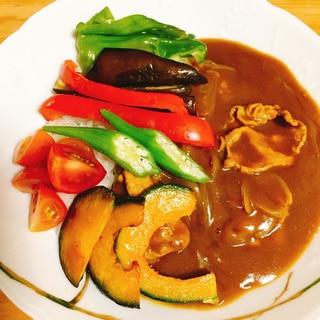 野菜あと乗せ、夏野菜カレー。
