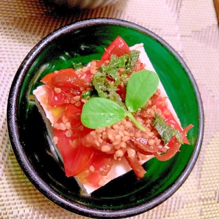 生姜佃煮とトマトの胡麻冷奴