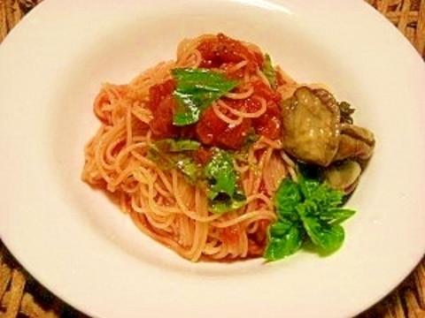簡単☆トマト缶の冷製パスタ