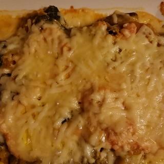 カボチャの煮物でめんたいチーズ焼き