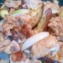 ホットプレートで 豚肉となすのソース炒め