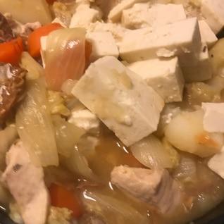野菜たっぷり、さば缶で石狩鍋!