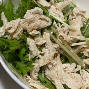 とりささみ!サラダチキンと水菜のサラダプレート