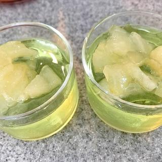 煮りんごのせ緑茶ゼリー