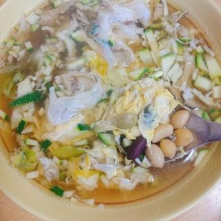 ズッキーニ 舞茸 レタス サラダ豆の卵スープ