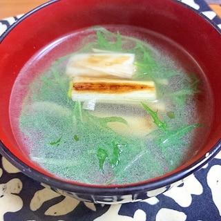 焼き長葱の中華スープ