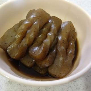 短時間でしっかり味のこんにゃくの煮物