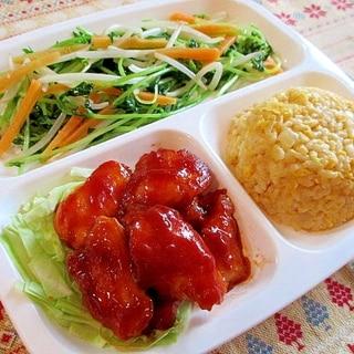 鶏むね肉の甘酢炒めでヘルシー中華ワンプレート♪