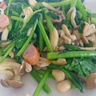 ほうれん草と大豆の炒め物