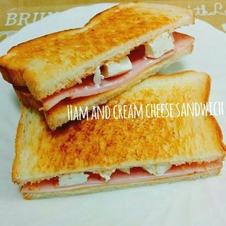 簡単☆ハムとクリームチーズのサンドイッチ