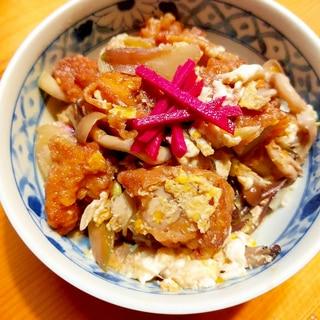 鶏の唐揚げリメイク☆みょうがとしめじの卵とじ丼