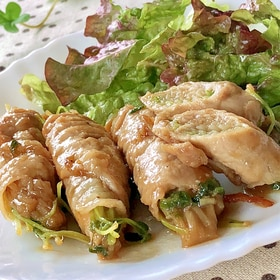 こってり甘辛♫豆苗とエノキの豚肉巻き