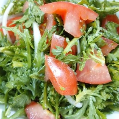 春菊とトマト、初めて合わせました!美味しかったです(*^^*)