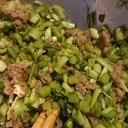 鶏ひき肉とニラのニンニク炒め