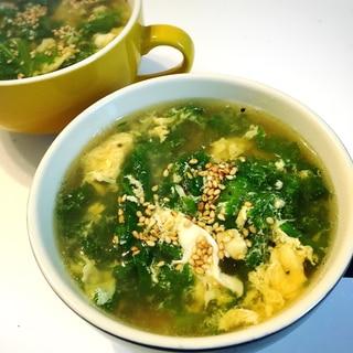 わさび菜と卵の中華スープ♡