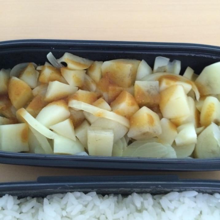 男の自炊料理。玉ねぎとじゃがいもでお弁当おかず。