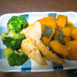 かぼちゃとササミの煮物