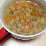 豚ひき肉とみじん切り野菜のコンソメスープ