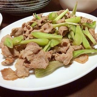 エシャロットと豚コマ肉のコショウ炒め