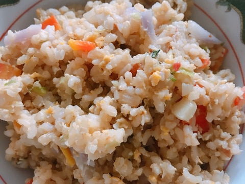 玉ねぎたっぷり玄米チャーハン
