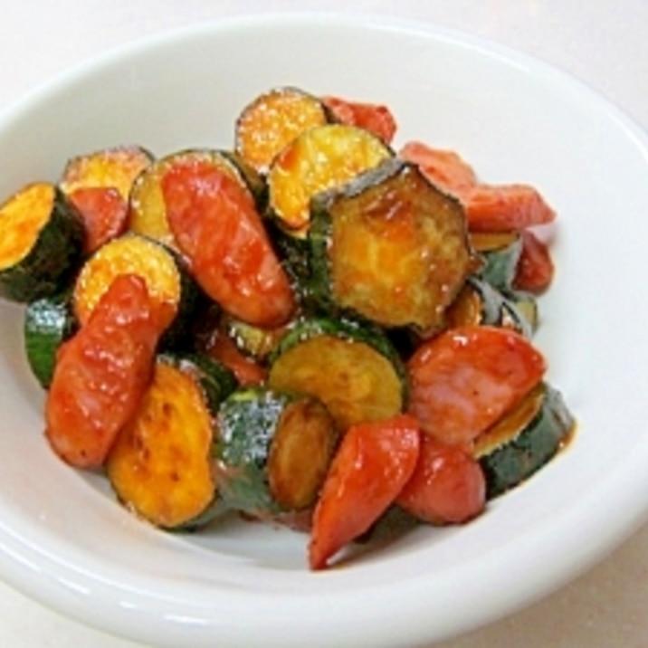 ズッキーニとウィンナーのケチャップソテー レシピ 作り方 By ぶるぶるらぶ 楽天レシピ